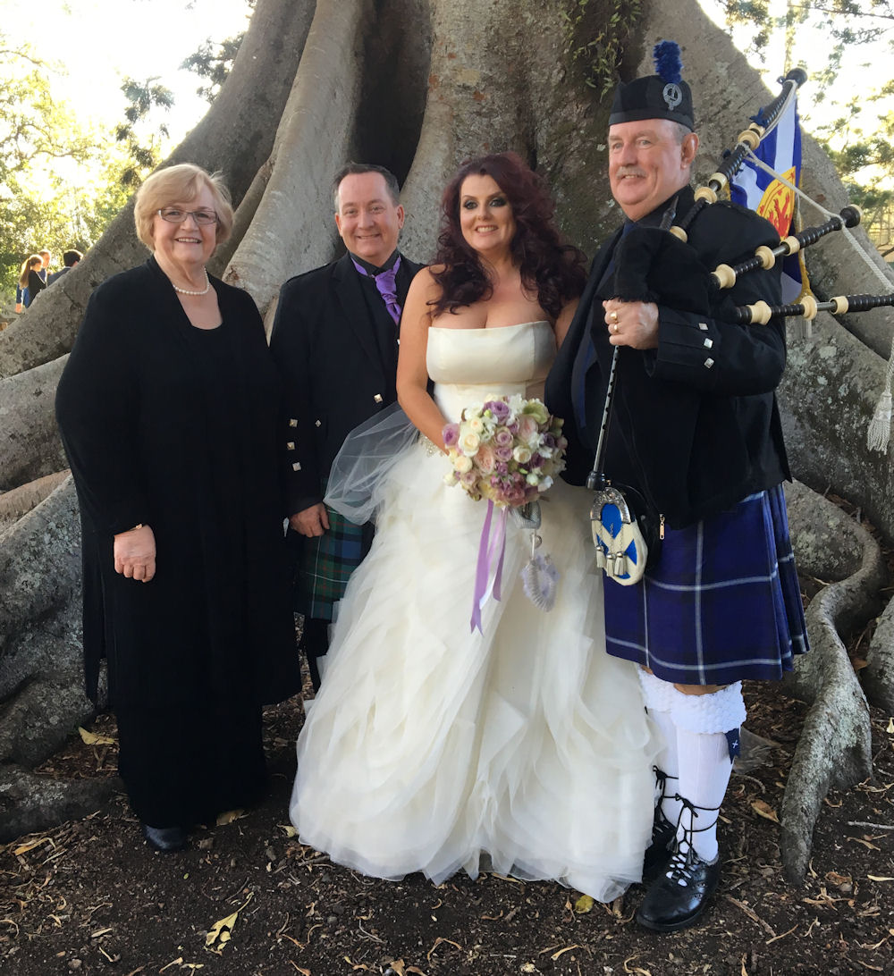 Jennifer Cram with couple and Piper Joe after